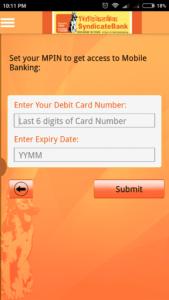 Syndicate Bank MPIN