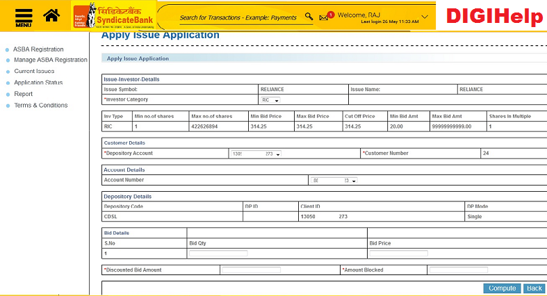 Apply for SyndicateBank ASBA