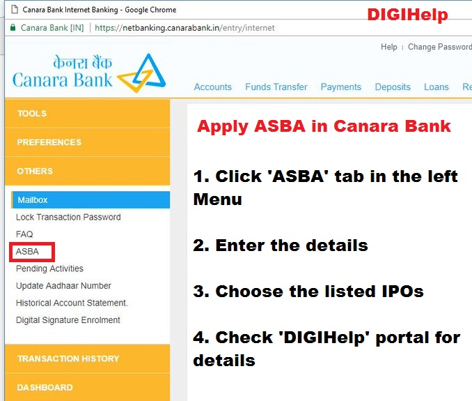 Apply ASBA in Canara Bank