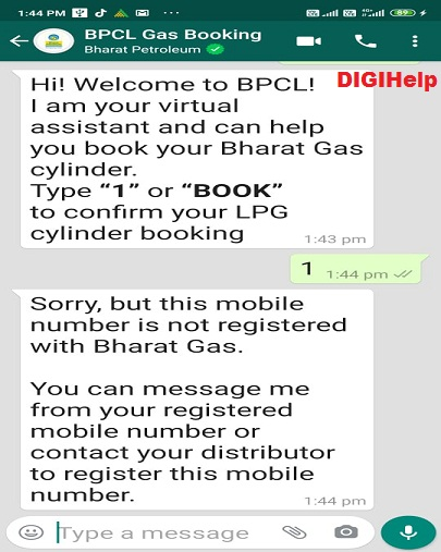 Book BPCL Cooking Gas via Whatsapp-Error
