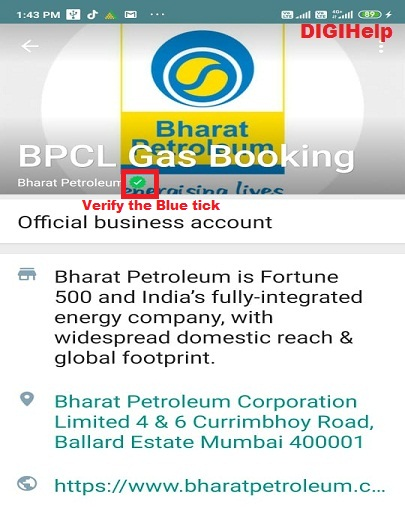 Book BPCL Cooking Gas via Whatsapp-home