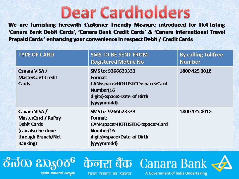 Block Canara Bank Credit Card