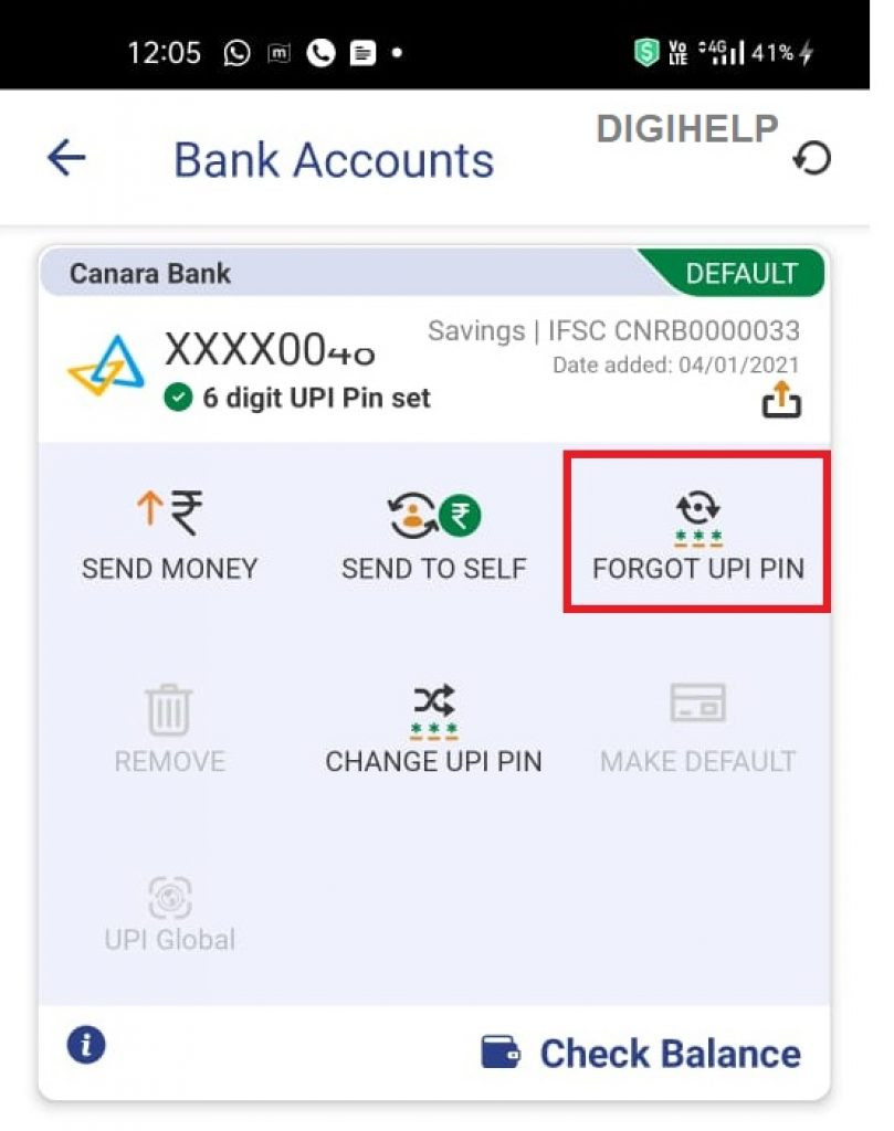 reset canara bank UPI PIN