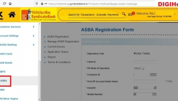 How To Apply IPO From Syndicate Bank ASBA ?