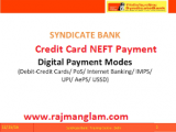 How To Pay Syndicate Bank Credit Card Bill Using NEFT ?